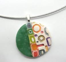 abstract art necklace polymer clay