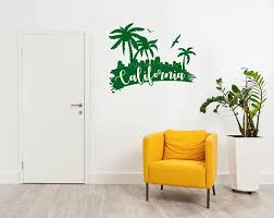 California Wall Decal With Palms Beach City Silhouette Etsy California Wall Decal Wall Decals Hallway Decorating