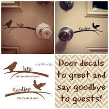 Hello Goodbye Bird Front Door Vinyl Decal Sticker Welcome Front Door Vinyl Decal Stickers Greeting Welcome Guests Welcome To Our Home Vinyl Door Decal Front Door Decal Door Decals