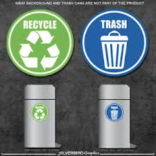 Trash And Recycle Sticker Decals Home And Office Container Various Sizes Ebay