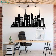 Office Wall Decal Chicago Skyline Wall Decals Murals City Silhouette Vinyl Stickers Custom Color Size You Want Yt2526 Wall Stickers Aliexpress