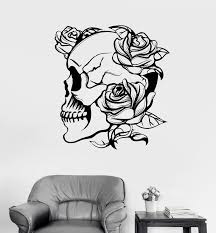 Vinyl Wall Decal Skull Roses Gothic Style Flowers Horror Stickers Uniq Wallstickers4you