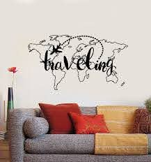 Vinyl Wall Decal Traveling Map Vacation Tourism Aircraft Country Stick Wallstickers4you