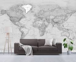 Simple Grayscale World Political Map Wall Mural Peel Stick Removable Wallpaper