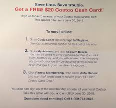 free 20 costco cash card when you sign