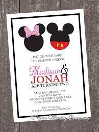 Mickey And Minnie Mouse Birthday Invitation By Papermonkeycompany
