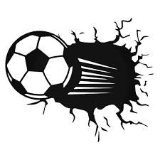 Soccer Ball Breaks Through The Wall Decal Sticker