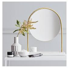 round brass marble stand vanity mirror