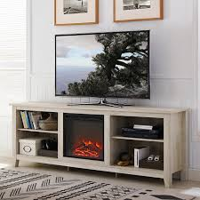white oak 70 inch rustic fireplace tv