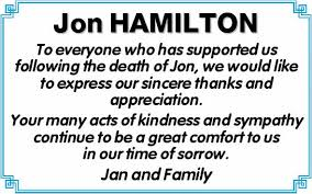 Jon HAMILTON | Bereavement Thanks | Toowoomba / Gatton | Weekly Times Now