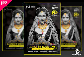 gold jewellery flyer psd template