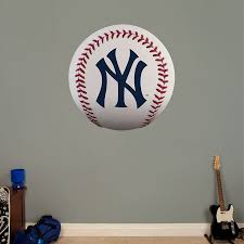New York Yankees Baseball Logo Wall Decal Shop Fathead For New York Yankees Decor New York Yankees Yankees Baseball New York Yankees Baseball
