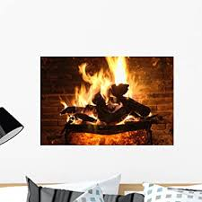 Amazon Com Wallmonkeys Fireplace And Amber Wall Mural Peel And Stick Graphic 24 In W X 16 In H Wm118832 Home Kitchen