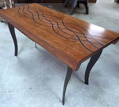 modern coffee table with resin inlay
