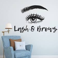 Eyelashes Extensions Wall Sticker Lash And Brows Vinyl Wall Decal Beauty Salon Decoration Eye Brow Make Up Wall Art Mural Sale Up To 70 Stickersmegastore Com
