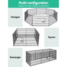 I Pet 24 8 Panel Pet Dog Playpen Puppy Exercise Cage Enclosure Play Pen Fence Dog Supplies