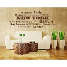 World Cities Berlin Los Angeles Barcelona Hong Kong Wall Decal Wall Decal Sticker Quotes And Sayings 1157 Beige 39in X 14in Walmart Com