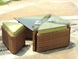 wicker side table outdoor dark brown