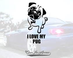 I Love My Pug Vinyl Decal Sticker Laptop Pet Paw Dog
