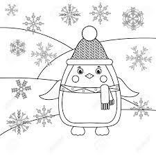 Kleurplaat Met Pinguin In Hoed En Sjaal En Sneeuwvlokken