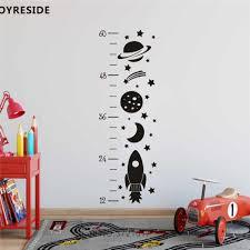 Cute Rocket Little Panet Boys Room Wall Decals Height Ruler Kids Grow Up Art Decoration Wall Sticker Vinyl Decal Children Ymx34 Wall Stickers Aliexpress