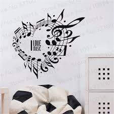 Wall Vinyl Decal Music Notes Heart Shape Wall Sticker Rock Band Jazz Band Wall Poster Home Decor Music Lover Vinyl Mural Pw196 Wall Stickers Aliexpress