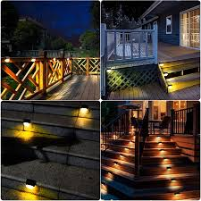 2 Pack Solar Deck Lights Waterproof Solar Step Light Auto On Off Outdoor Solar Fence Lights For Patio Yard Steps Fence Pathway Warm White Walmart Canada