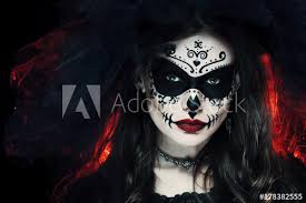 beautiful woman with halloween sugar