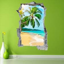 Caribbean Tropical Beach Sunset Wall Art Sticker Mural Decal With 3d Effect Fs2
