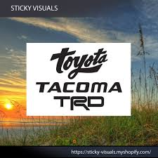 Toyota Script Tacoma Trd Stacked Window Decal Sticker Pick Size Color In 2020 Window Decals Decals Stickers Custom Vinyl Decal