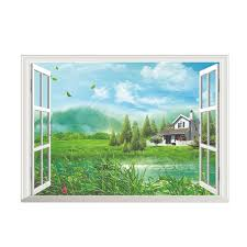 Removable Wall Sticker Home Decor Art Vinyl Fake Window With House Lake Forest And Mountain Mural Wall Decals Wall Stickers Aliexpress