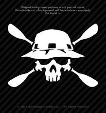Kayak Skull With Paddles Vinyl Decal Canoe Oars Window Sticker 25 Colors Ebay