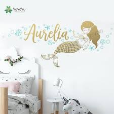 Mermaid Wall Stickers Custom Name Vinyl Decals Girls Room Personalized Name Wall Decal Kids Room Mural Custom Nursery Decorzw479 Buy At The Price Of 5 40 In Aliexpress Com Imall Com