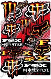 Red Yellow Fox Monsters Moto Super Cross Decals Stickers For Helmet Motorcycle Atv Dirt Bike Car Racing Kit Fox Racing Logo Monster Racing Stickers