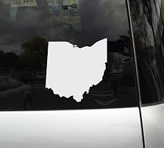 Amazon Com Applicable Pun Ohio State Shape The Buckeye State White Vinyl Decal Sticker For Car Macbook Laptop Tablet And More 6 Inch Automotive
