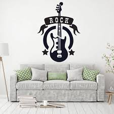 Rock Club Guitar Instruments Wall Decal Music Fans Wall Art Decor Sticker Removeable Diy Vinyl Decal Living Room Decoration G894 Wall Stickers Aliexpress