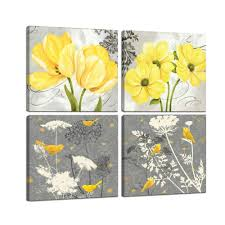 Wall Art Yellow And Gray Grey Flowers Birds Abstract Print Canvas Home Decor Decals Pictures 4 Panels Poster For Bedroom Living Room Office Painting Photo Framed Ready To Hang 12x12x4pcs 3