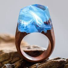 handcrafted wood resin rings hide