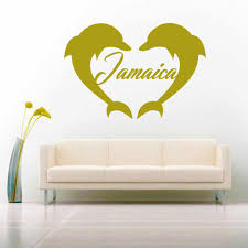 Jamaica Dolphin Heart Vinyl Decal Sticker Caribbean Decals