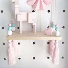Amazon Com Cheerfullus Nordic Style Decorative Display Stand Wall Hanging Shelf Swing Rope Wooden Floating Shelves Kids Room Home Decor White Green Pink With Pink Tassels Home Kitchen
