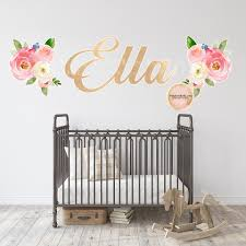 Personalized Baby Name Gold Wall Decal Sticker Boho Decor Pink Forest Cafe