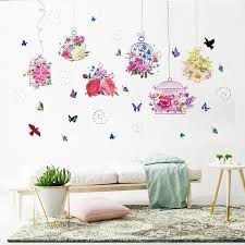 50cm 70cm Flowers Vine Birds Cage Flying Birds Wall Stickers Living Room Bedroom Mural Poster Art Home Decor Wall Decals Graphic Wall Stickers Aliexpress