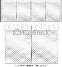 Metal Mesh Gate Fence And Gate Made Of Metal Wire Mesh On White Background