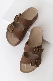 Ada Brown Suede Platform Slide Sandals | Slide sandals, Brown ...