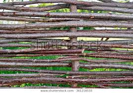 Woven Willow Fence Green Grass Gaps Stock Photo Edit Now 361218533