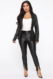 boss in town pu leather pants black