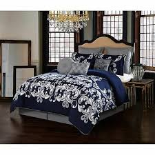 navy blue silver gray grey damask 10pc