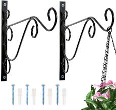 Dyna Living Hanging Basket Brackets 2 Pack Metal Wrought Iron Wall Brackets For Hanging Baskets Bird Feeders Plants Lanterns Wind Chimes Heavy Duty Garden Fence Hooks Garden Decor With Screws Amazon Co Uk Garden Outdoors