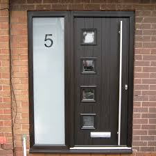 modern front doors with side panels