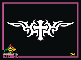 Cross Design Tribal Vinyl Decal